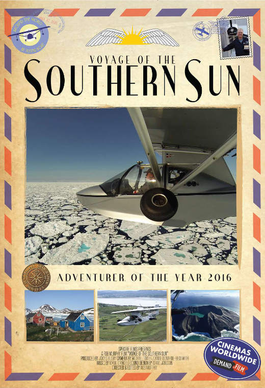 The poster for the film, Voyage of the Southern Sun showing a small float plane banking over an ice field in the ocean.